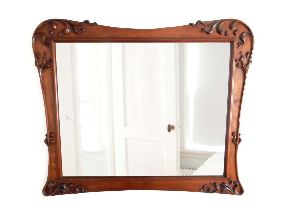 Grote Spiegel Hout : Grote art nouveau spiegel dille art nouveau deco